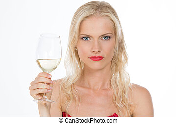 nordic dressed red girl keeping a glass of wine - blond...