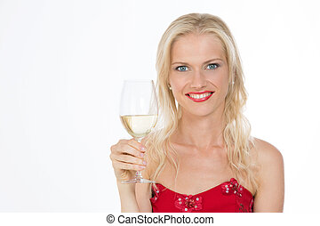 smiling nordic girl holding a glass of white wine - nice...