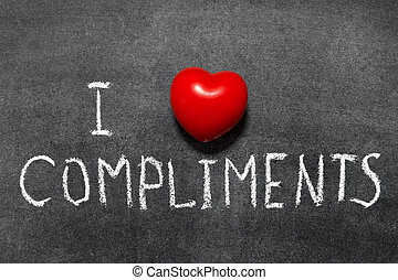 love compliments - I love compliments phrase handwritten on...