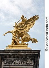 Paris, -, dourado, winged, cavalo, estátua, ligado,...