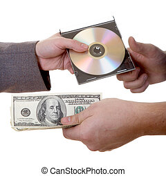 Spy Deal - Man\'s hand with dollars and CD isolated at the...