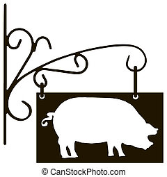 Sign pig farm specialization - Vintage signboard pig farm...