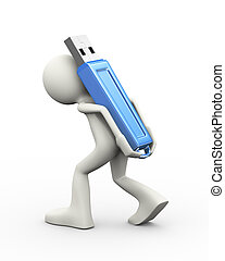 3d man carrying usb flash drive on his back - 3d...
