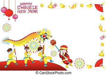 Chinese New Year Frame with Dragon