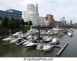 Duesseldorf harbour, Germany - A bunch of boats in...