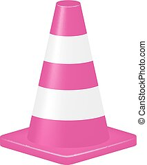 Pink traffic cone isolated on white background