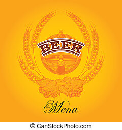 beer menu - vector glass of beer on a yellow background for...