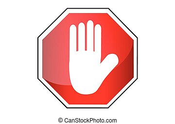 Simple vector Sign - Stop, isolated on white