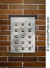 Retro Grungy Apartment Intercom - Retro Filter Photo Of...