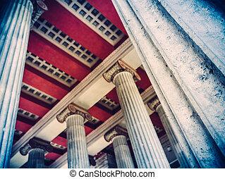 antiga, romana, coluna, pilares,