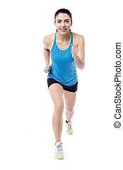 Full length photo of running woman - Beautiful fitness woman...