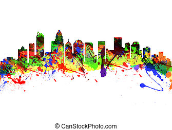 Charlotte North Carolina USA City Skyline - Watercolor art...