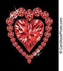Shiny crystal love heart, vector