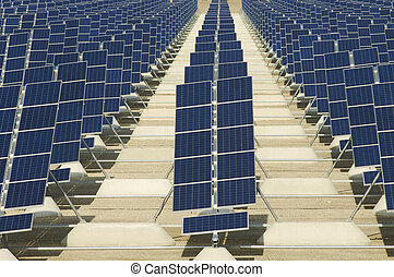 photovoltaic panels - View of a huge solar field in the...