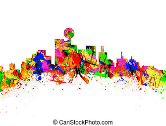 Dallas - Watercolor art print of the Skyline of Dallas USA