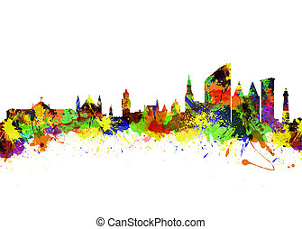 Den Haag Netherlands - Watercolor art print of the Skyline...