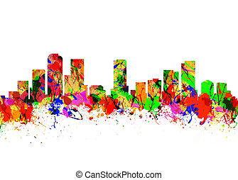 Denver Colorado USA - Watercolor art print of the Skyline of...