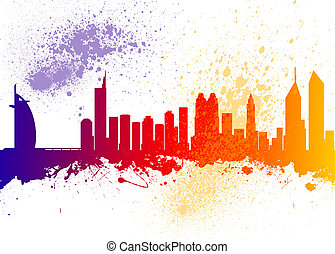 Dubai City Skyline Silhouette - Watercolor art print of the...