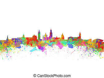 Glasgow Watercolor skyline - Glasgow Art Watercolor art...