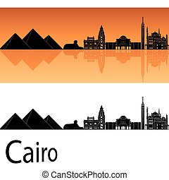 Cairo skyline in orange background in editable vector file