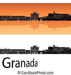 Granada skyline in orange background in editable vector file