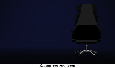 Business Chair On Blue - Front View Of Business Chair On...