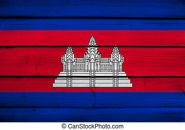 Cambodia Flag on wood background