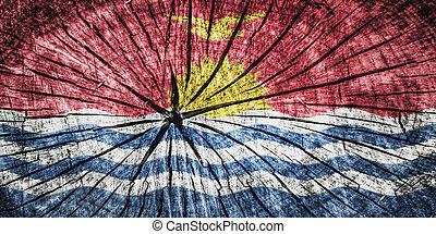 flag of Kiribati on cracked wooden texture