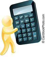 Gold man holding calculator - An illustration of a gold man...