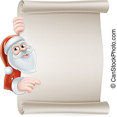 Cartoon santa scroll sign - Cartoon Christmas Santa scroll...
