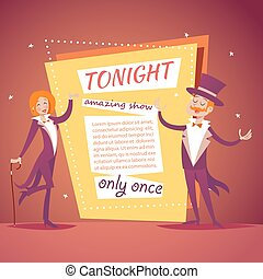 Host Lady Girl Boy Man in Suit with Cane and Cylinder Hat...