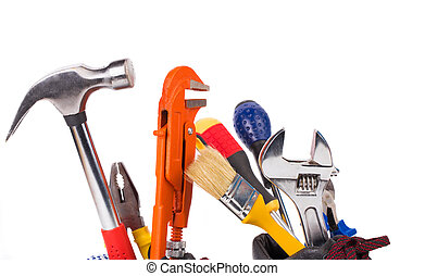 Various worker tools. Isolated on a white background