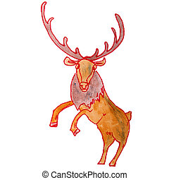 watercolor drawing kids cartoon deer on white background -...