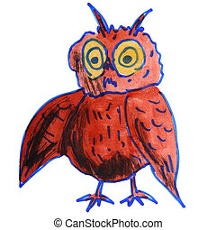 watercolor drawing kids cartoon owl on white background -...