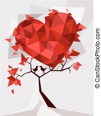 Vector - Valentine tree, love, leaf