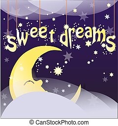 sweet dreams - Night background with moon, stars and clouds...