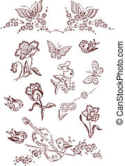 Flower Bird Butterfly Elements