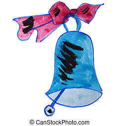 drawing kids cartoon watercolor bell on white background -...