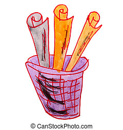 drawing children watercolor basket, trash cartoon on a white...