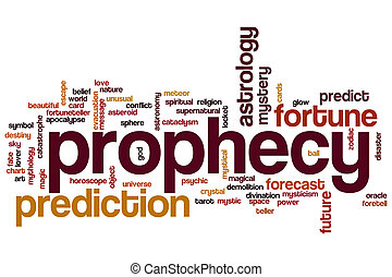 Prophecy word cloud concept with prediction fortune related...