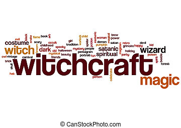 Witchcraft word cloud concept with magic witch related tags