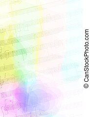 Colour Background with handmade musical notes Vector...