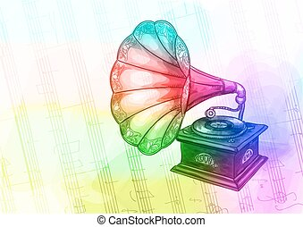 Vintage Gramophone in iridescen colours.