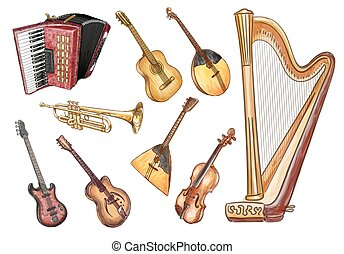 Musical instruments. Vector set.