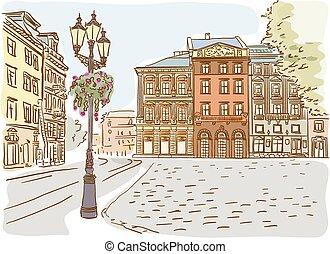 Antique European street. Summer city landscape. Vector...
