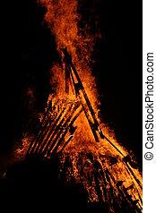 chamas, de, fogo, durante, Um, assustador, fogo, de, Um,...