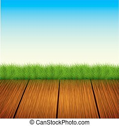 Vector wooden floor with grass, sky Summer background