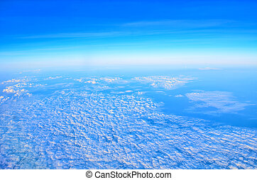 blue sky high view from airplane