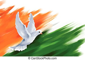 Dove flying on Indian Flag for Indian Republic Day -...