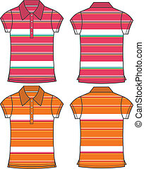 lady fashion stripe pattern polo